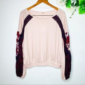Free People Tops - Free People Rose Combo Ballon Sleeves Thermal Top